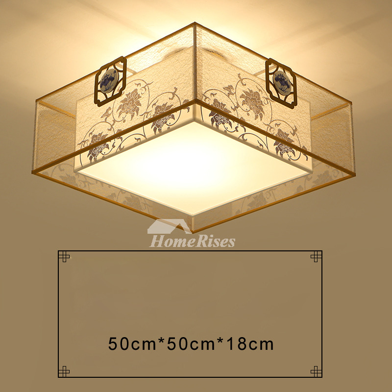 Living Room Ceiling Lights Drum Fabric Shade Square Flush