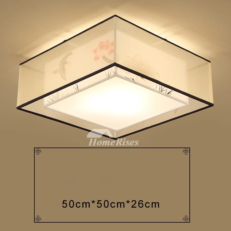 Square Flush Mount Ceiling Light Modern Asian Bedroom Fixture Fabric