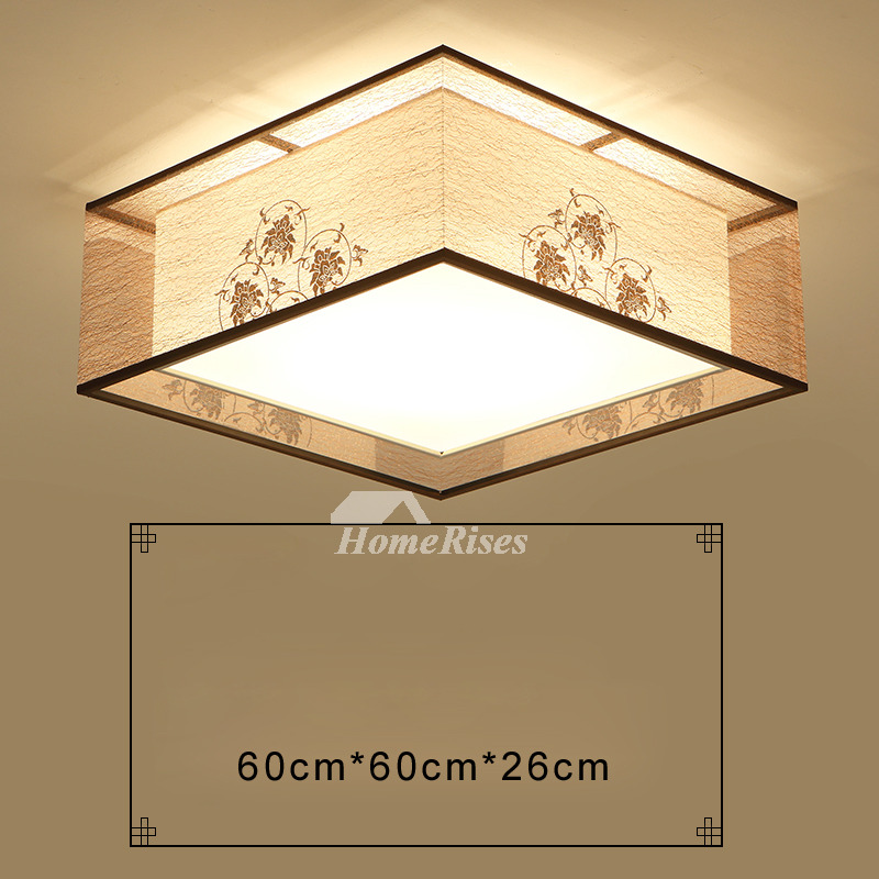 Square flush mount ceiling light modern asian bedroom fixture fabric aloadofball Images