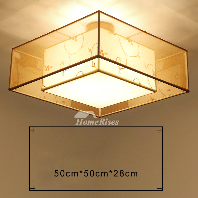 Ceiling Light Japanese: Flush Mount Ceiling Light Drum Fabric Round/Square Living