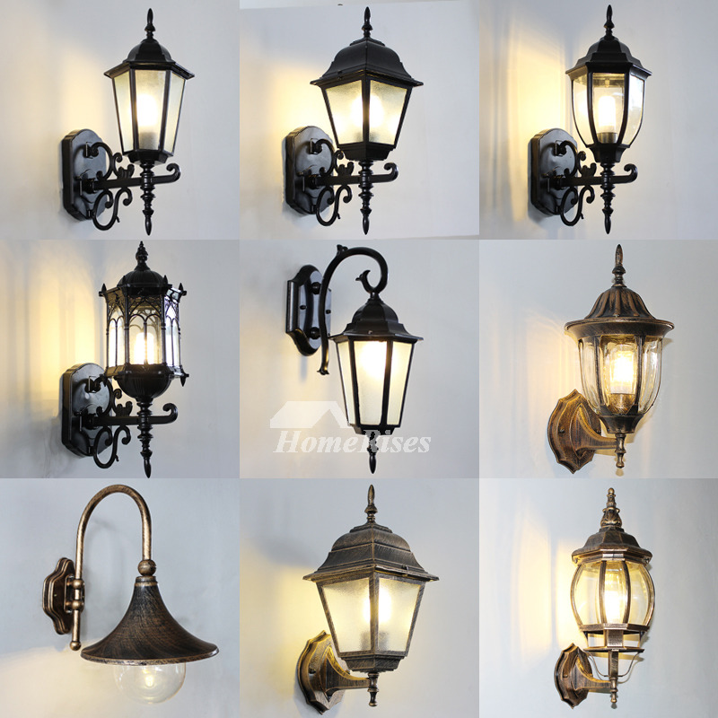 Outdoor Wall Sconce Rustic Black Bronze Gold Metal Glass