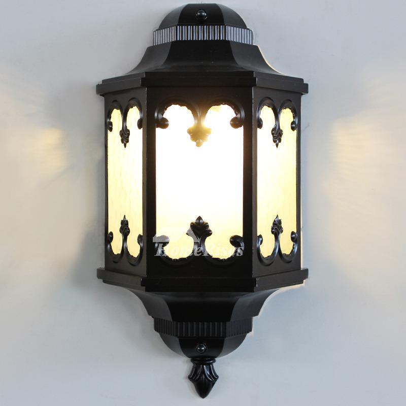 Antique Wall Sconces Glass Wrought Iron Decorative E27