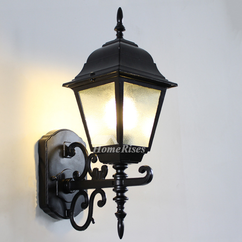 Designer Rustic Wall Sconces Outdoor Glass Wrought Iron