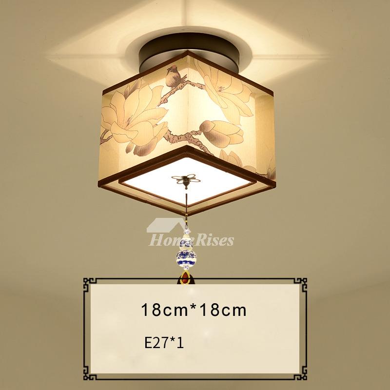 Square ceiling light round asian wrought iron fabric semi flush aloadofball Choice Image