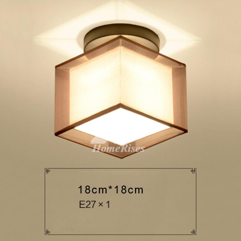 Bedroom Ceiling Light Fixtures Semi Flush Square Fabric Wrought Iron