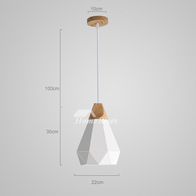 Modern Pendant Light Hanging White Small Wood Aluminum Kitchen