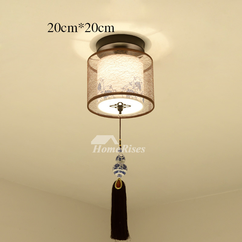 Hanging Ceiling Lights Semi Flush Asian Bedroom Fixture Fabric Round