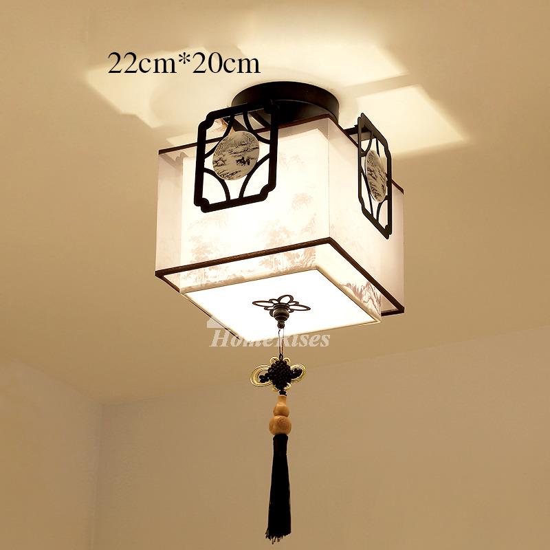 Hanging ceiling lights semi flush asian bedroom fixture fabric round aloadofball Choice Image