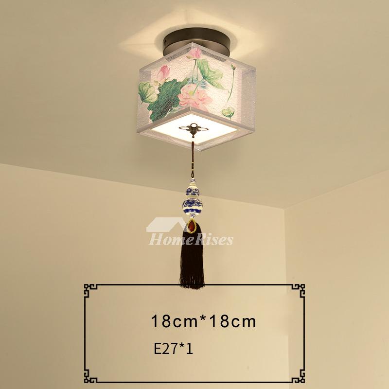 Semi Flush Mount Ceiling Lights Small Fabric Round Wrought Iron
