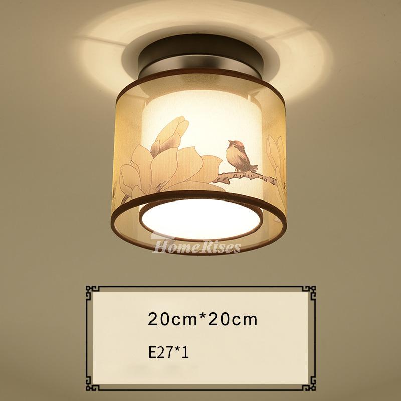 Low Profile Ceiling Light Round/Square Living Room Semi Flush Fabric