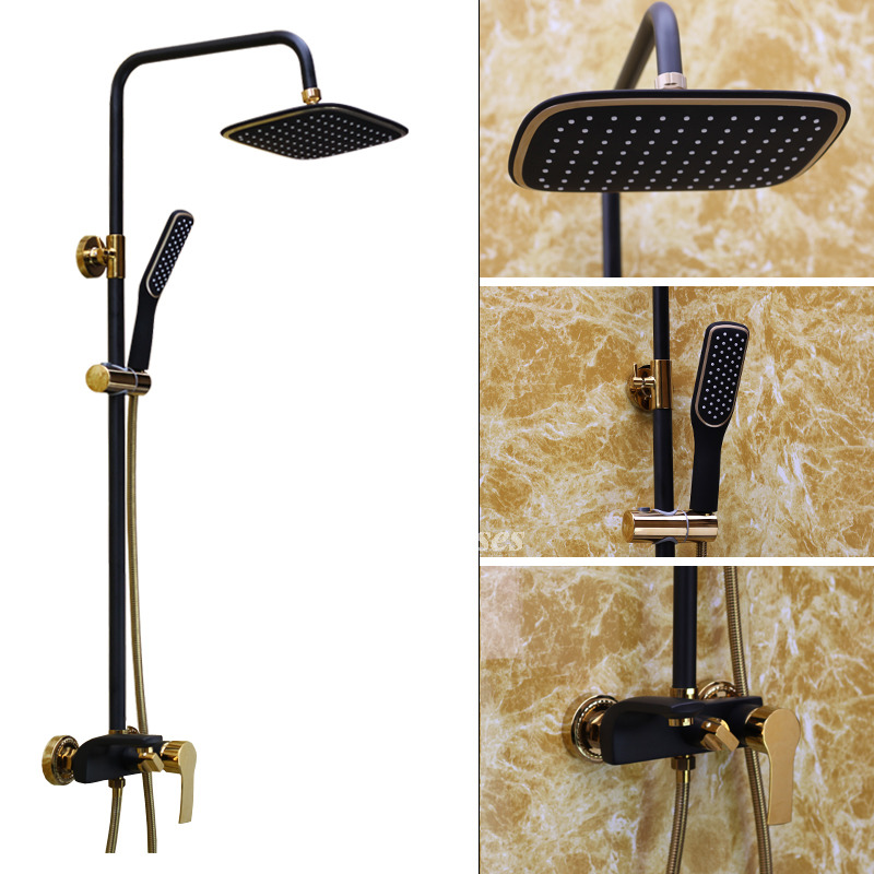 Outdoor Shower Faucet Oil Rubbed Bronze Black Wall Mount Brass
