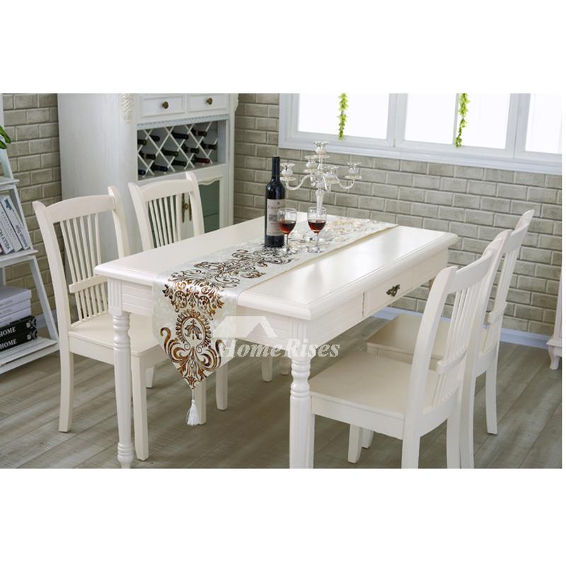 European Modern Table Runner Dinning Room Velvet Beige