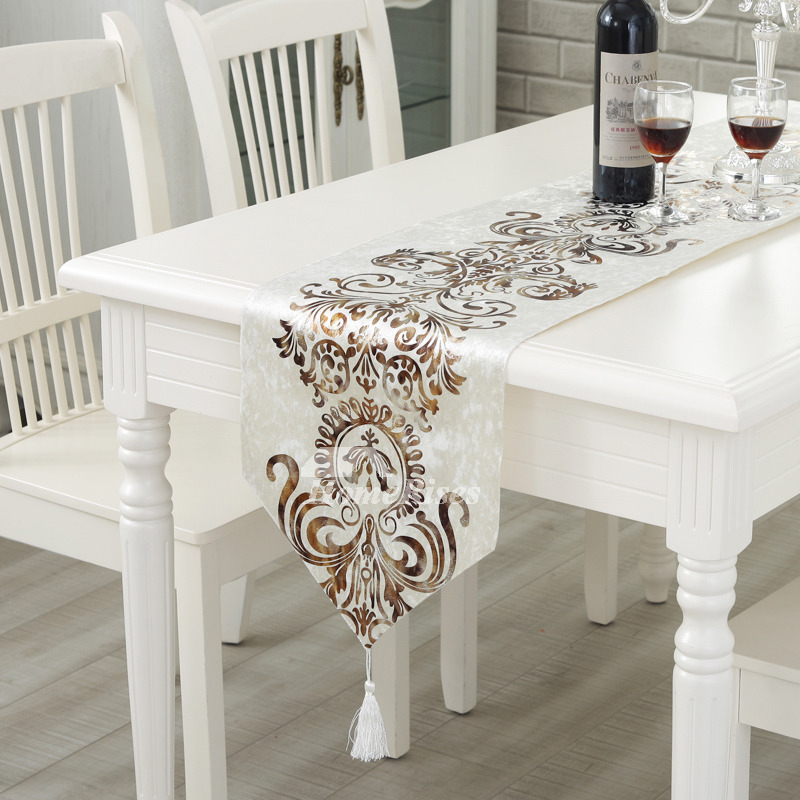 Cheap Table Runners Velvet White/Blue/Brown Fall Living Room Best