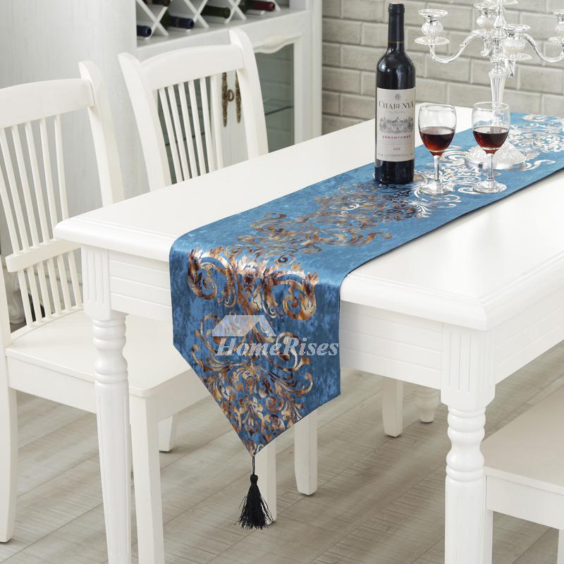 Cheap Table Runners Velvet White Blue Brown Fall Living
