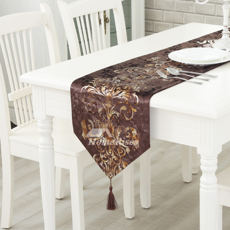 Cheap Table Runners Velvet White Blue Brown Fall Living