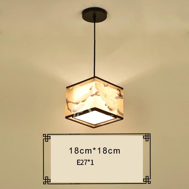 Vintage Pendant Lighting Drum Square Fabric Wrought Iron Hanging