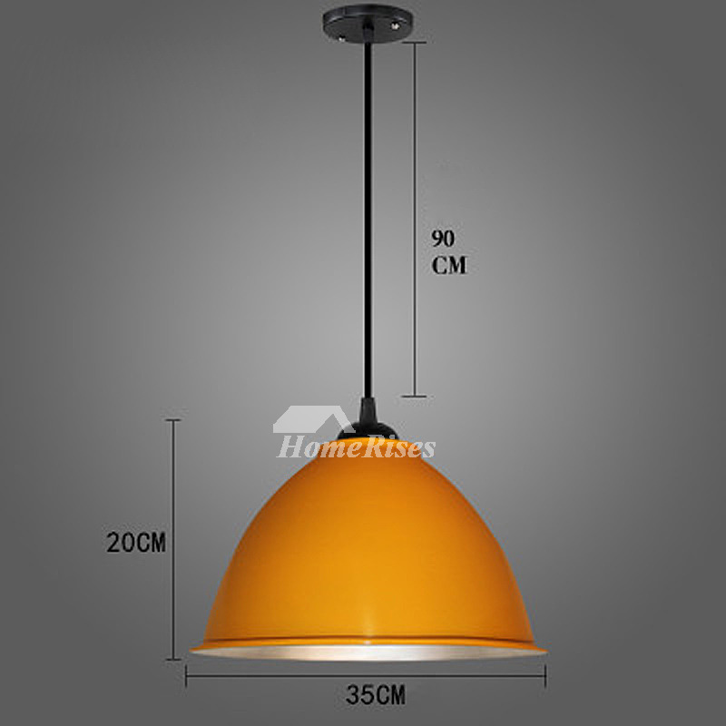 Black Pendant Light Orange Blue Modern Hanging Fixture
