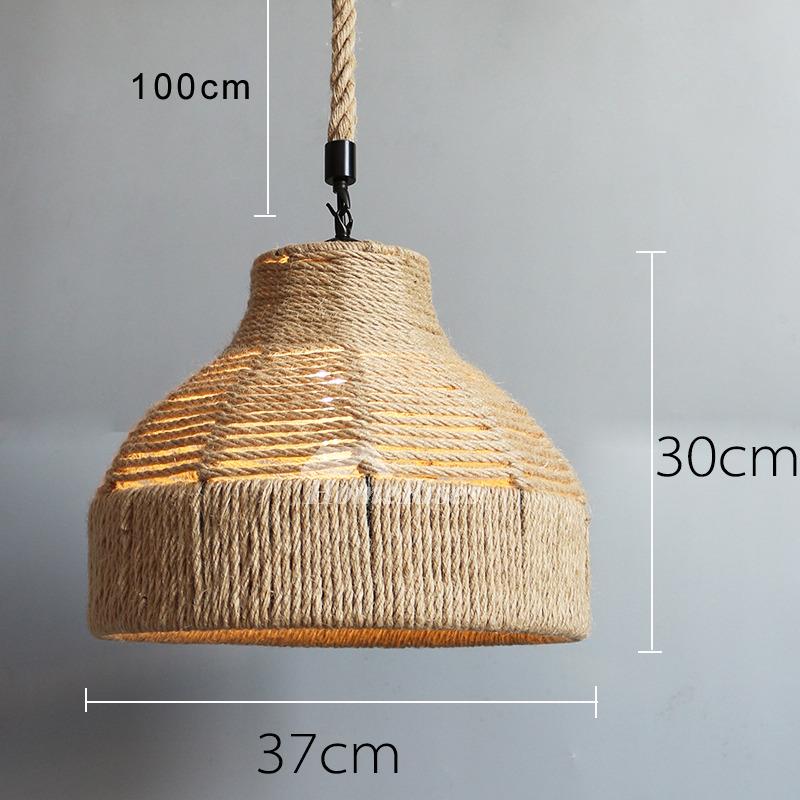 Industrial Pendant Light Rustic Rope Hanging Fixture Bar