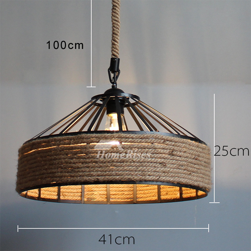 Rustic Pendant Lighting Industrial Hanging Designer Rope