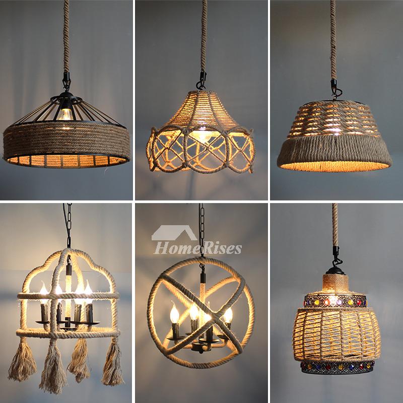 Rustic Pendant Lighting Industrial Hanging Designer Rope