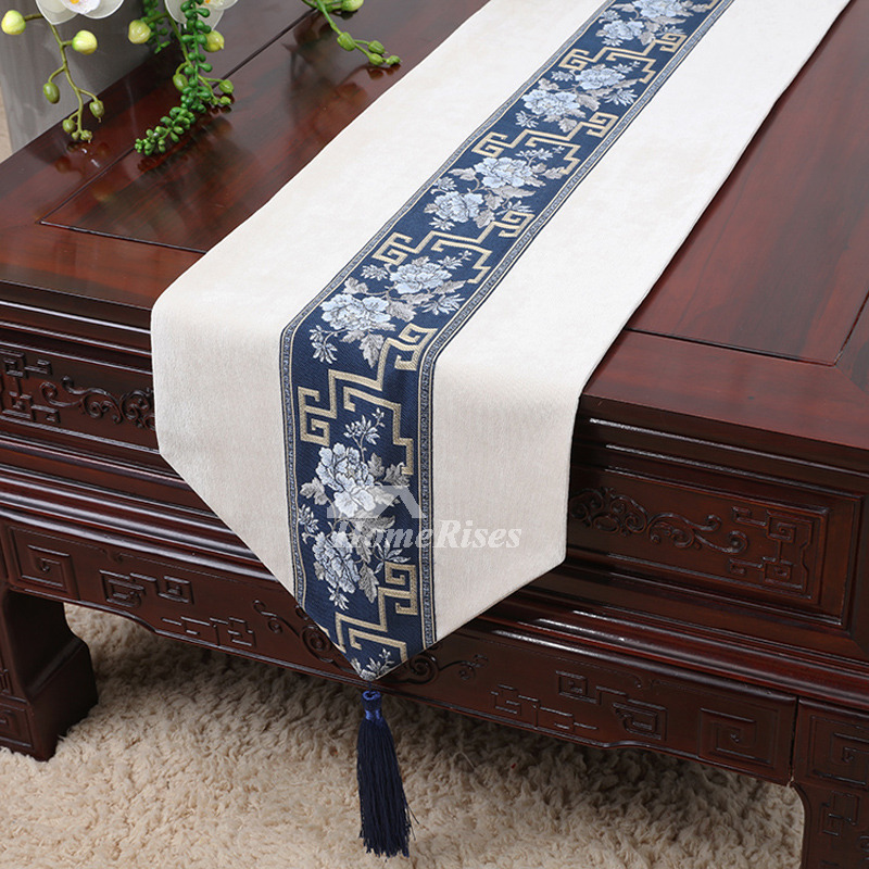 Purple Table Runners Wedding Bluewhitebrown Corduroy Dinning Room