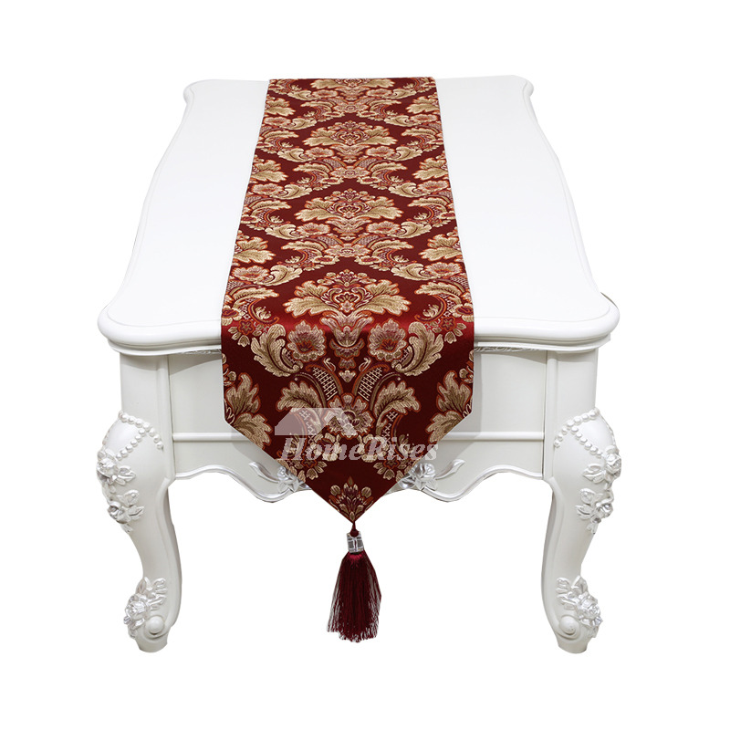 Burgundy Table Runner Jacquard Polyester Coffee/Gold/Brown
