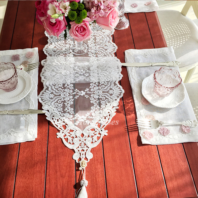 Lace Table Runners White Gold Black Wedding Cheap Modern
