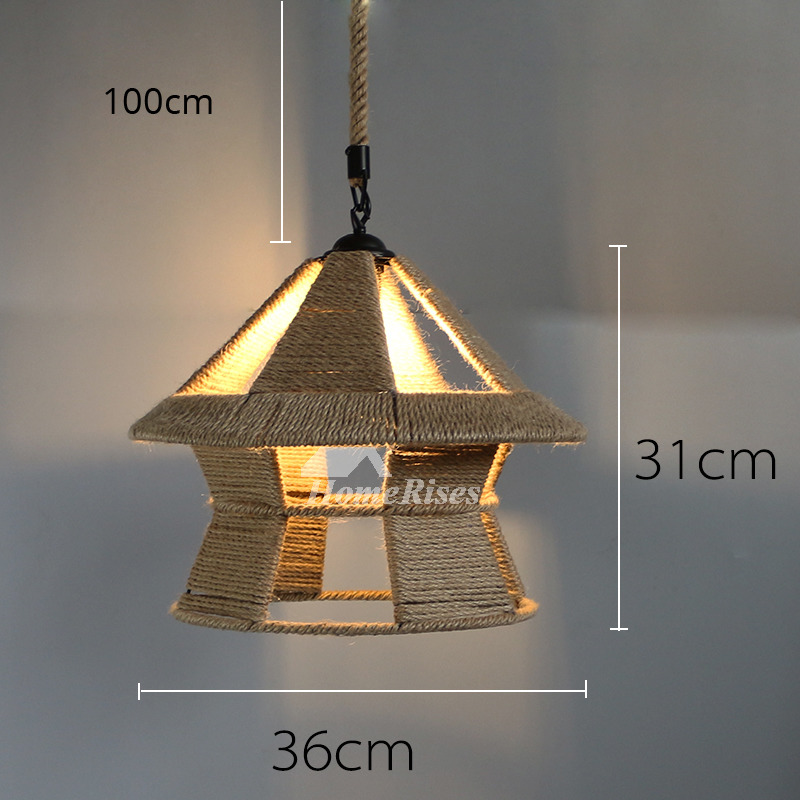 Rustic Pendant Lights Hanging Rope For Kitchen Hollow
