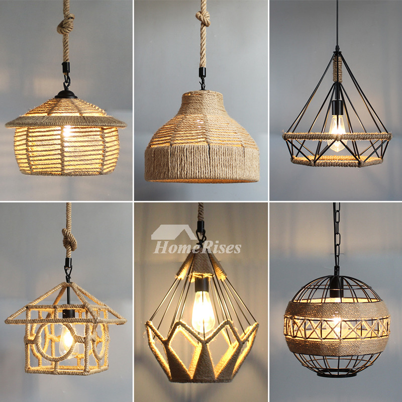 Rustic Pendant Lights Hanging Rope For Kitchen Hollow Lighting