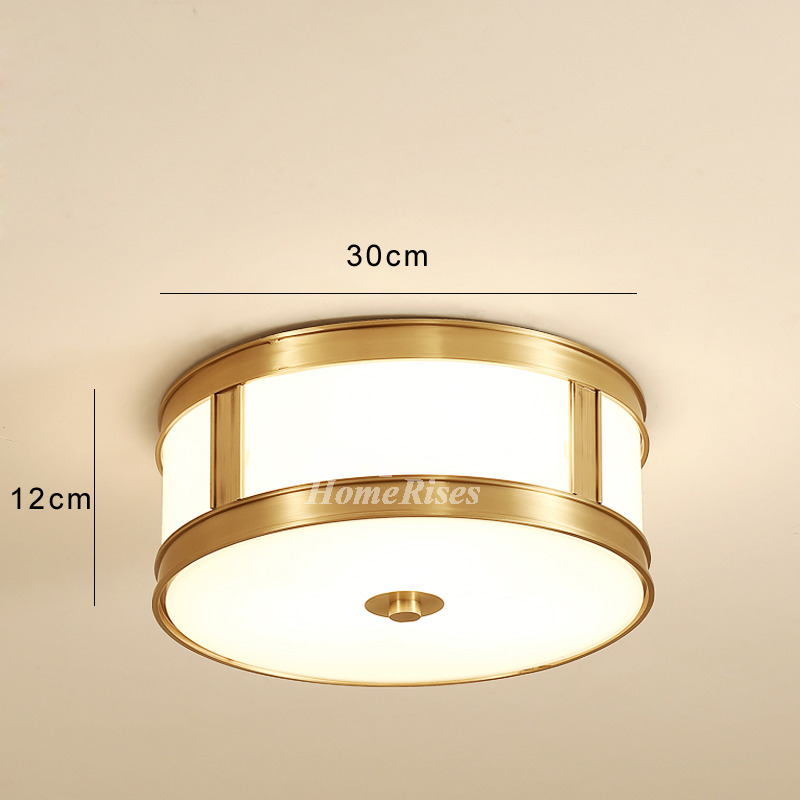 Drum Shade Ceiling Light Br Flush Mount Gl Modern Fixture