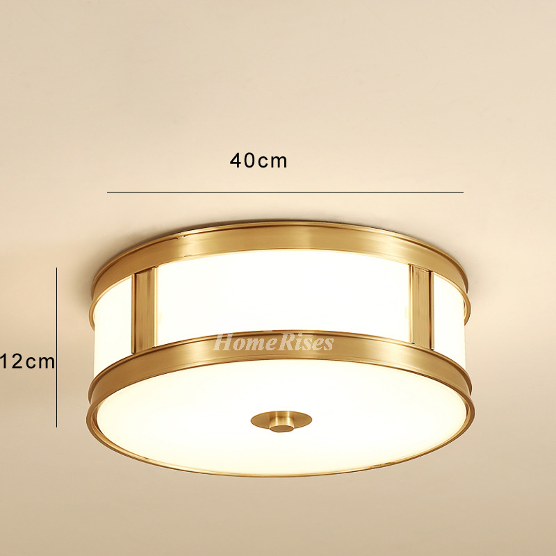 Drum Shade Ceiling Light Brass Flush Mount Glass Modern