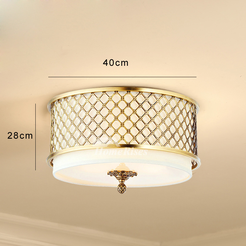 Drum Shade Ceiling Light Brass Flush Mount Glass Modern Fixture