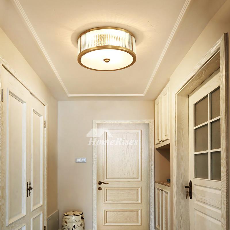 Ceiling Lighting Fixtures Glass Polished Brass Flush Mount