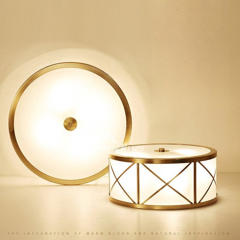 Upscale Lighting Fixtures: Ceiling Lighting Fixtures Glass Polished Brass Flush Mount