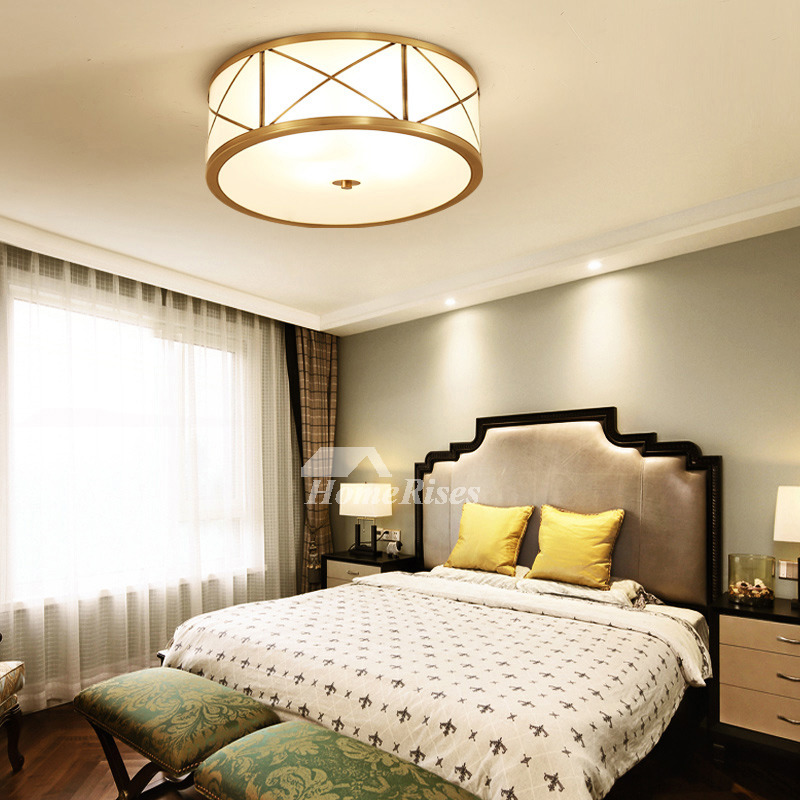 Ceiling Lighting Fixtures Glass Polished Brass Flush Mount Luxury