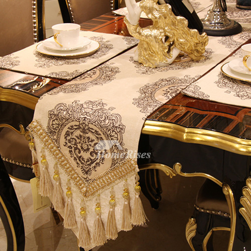 Dining Table Runners Chenile Beige Coffee Brown Blue