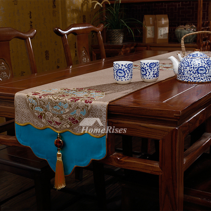 Coffee Table Runner Polyester Embroidered Cream/Brown