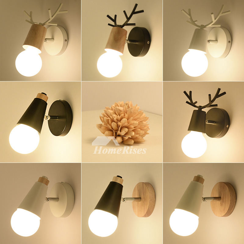 Cheap Metal Wood Wall Sconce Black White Modern Bathroom Small