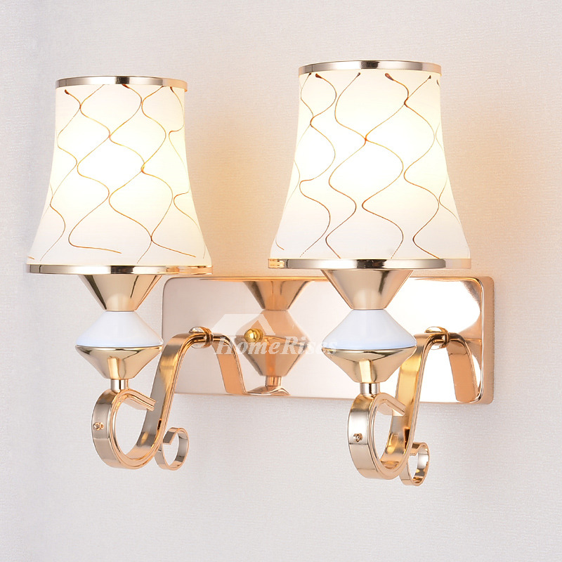 Wall Sconces Lighting Indoor Hardware Glass Modern Pull Chain 2 Light