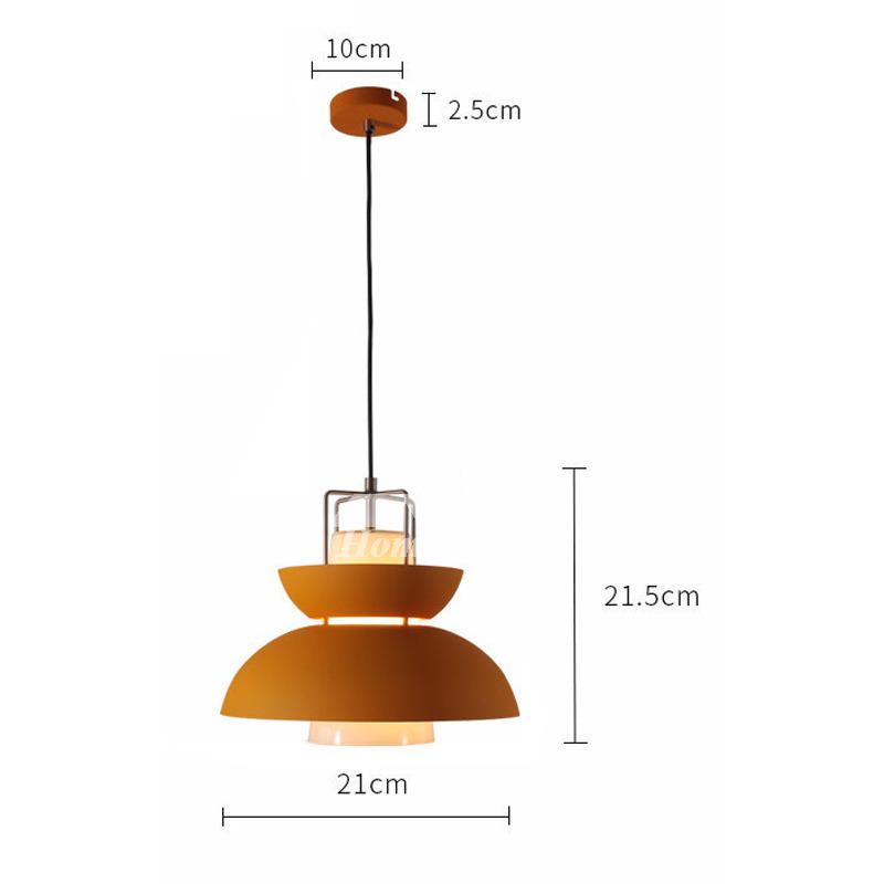 Hanging Pendant Lights Iron Glass Shade Orange Modern ...
