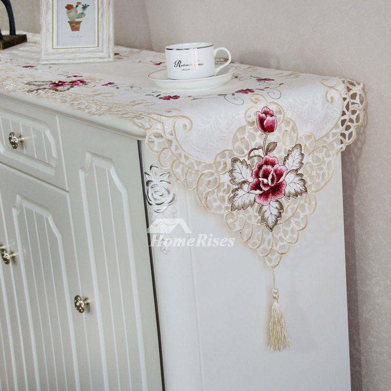 Embroidered Table Runner White/Red Polyester Modern ...