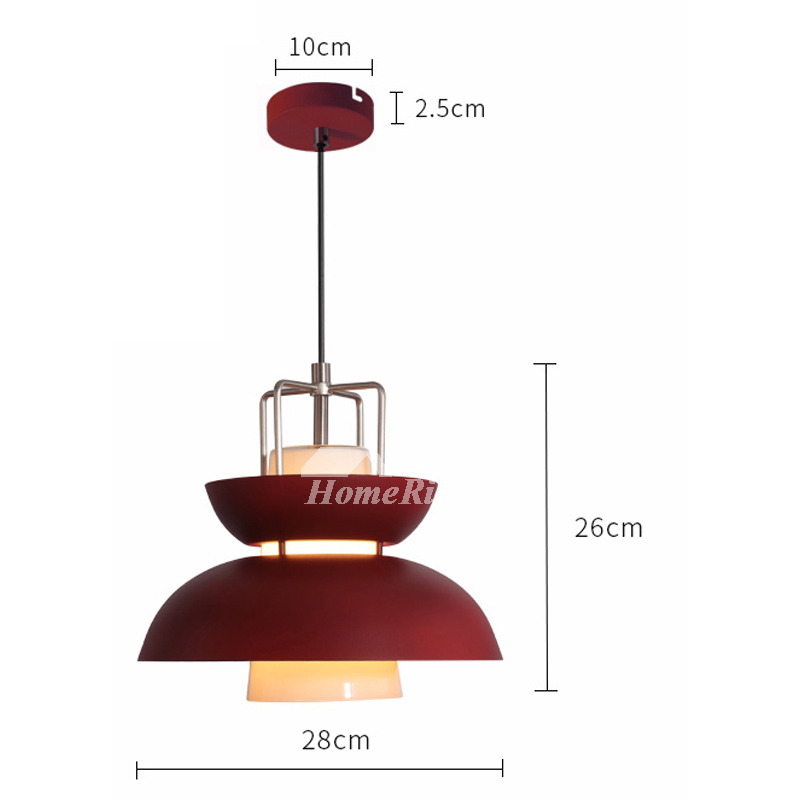 Red Pendant Light Hanging Iron Glass Modern For Kitchen