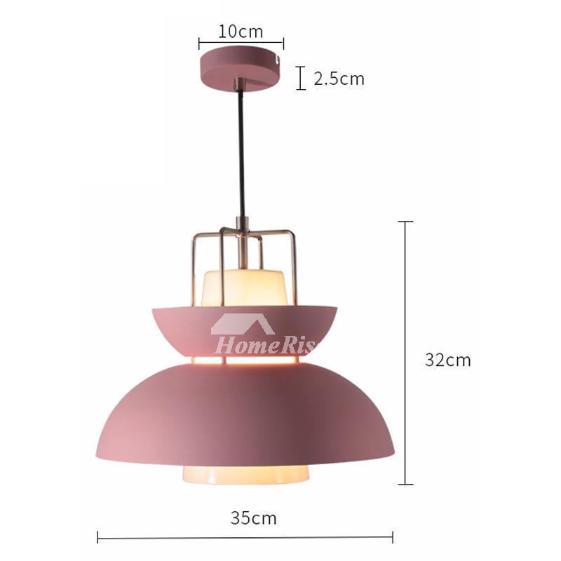 Modern Pendant Lights Pink/Green Iron Glass Hanging Kitchen Large