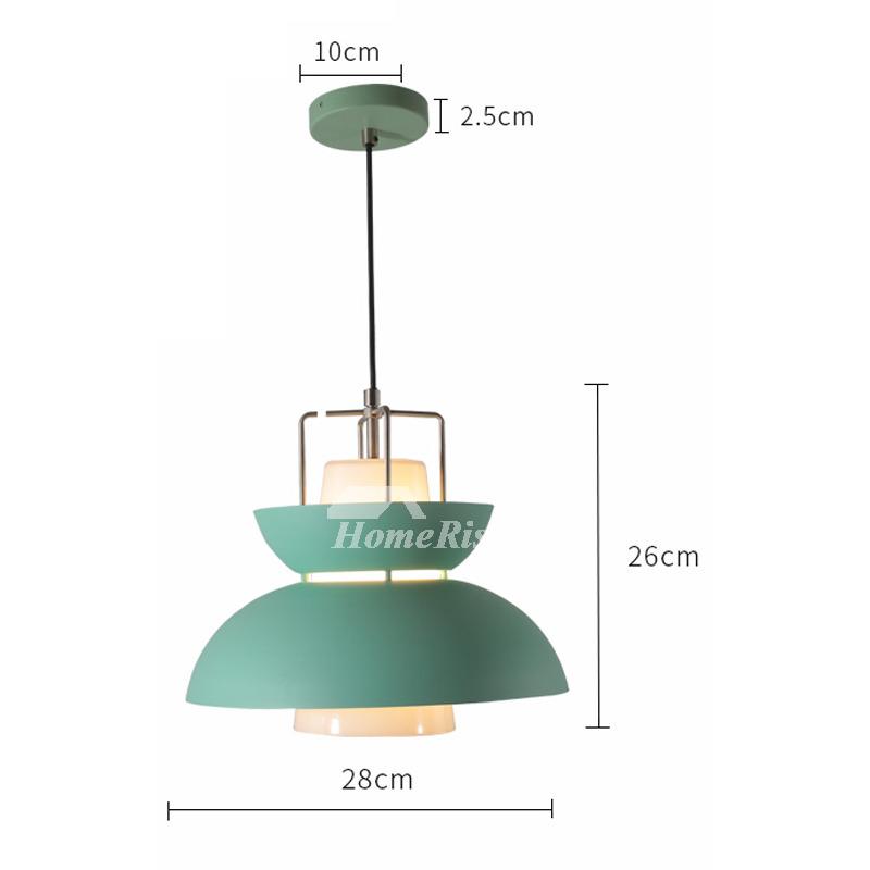 Modern Pendant Lights Pink/Green Iron Glass Hanging
