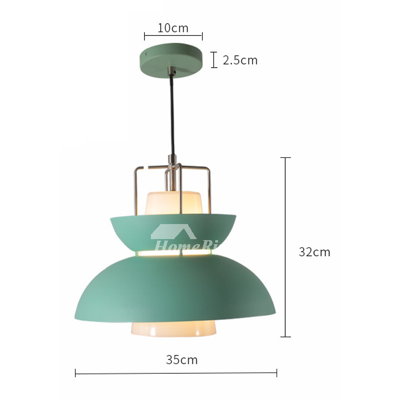 Modern Pendant Lights Pink/Green Iron Glass Hanging