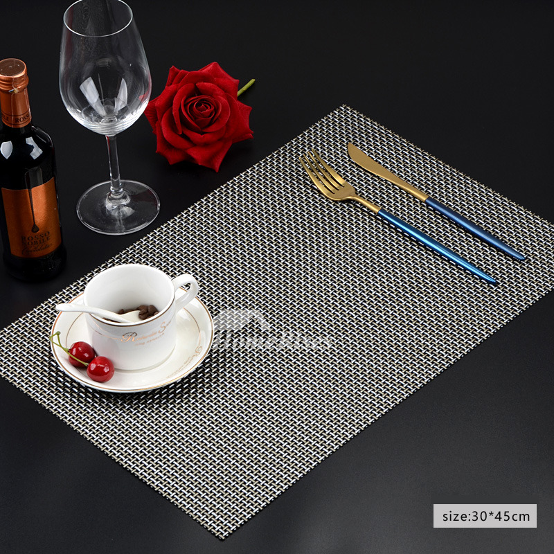 Hard Placemats Black Gray Brown Silver Pvc Dinning Table Woven