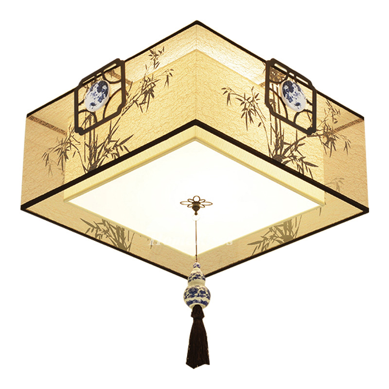 Kitchen Ceiling Light Flush Mount Fabric Wrought Iron Square Hanging