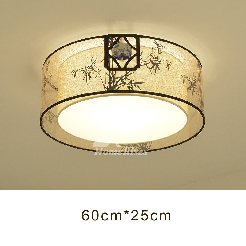 Dining Room Ceiling Lights Drum Flush Mount Fabric Wrought Iron Best