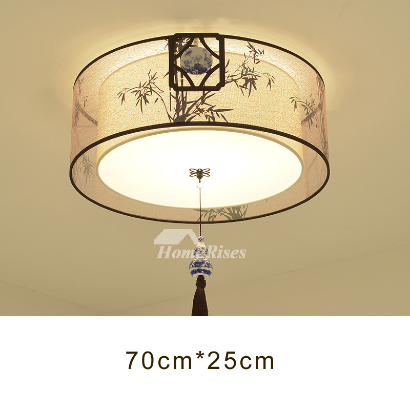 Vintage Ceiling Lights Asian Fabric Wrought Iron Drum Square Bedroom