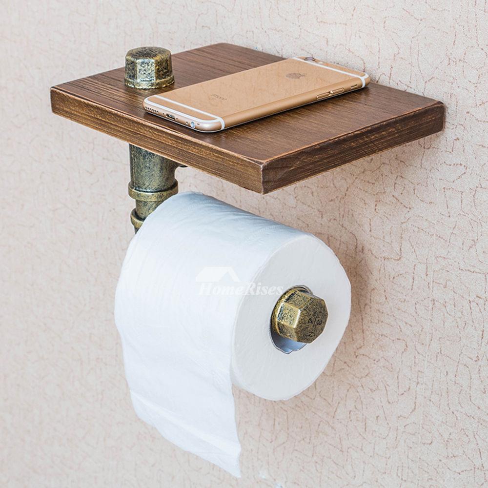 unusual vintage wooden rustic toilet paper holder with shelf. Black Bedroom Furniture Sets. Home Design Ideas